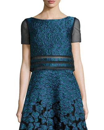 Naria Printed Crop Top & Nai Flocked Midi Skirt