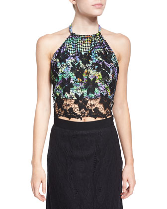 Mari Crochet Crop Top, Black
