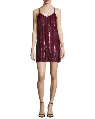 Blake Sleeveless Embellished Dress, Oxblood