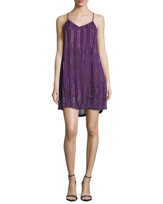 Ludevine Sleeveless Embellished Dress, Plum