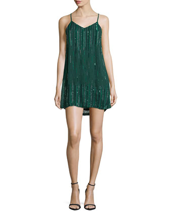 Ludevine Sleeveless Embellished Dress, Forest Green