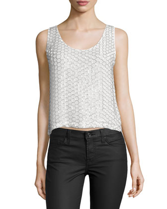 Henley Embellished Tank Top, Off White