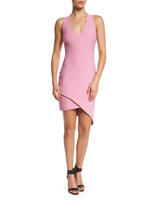 Rosa Sleeveless Faux-Wrap Dress, Raspberry Ice