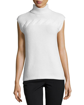 Cap-Sleeve Turtleneck Cashmere Sweater, Ocean