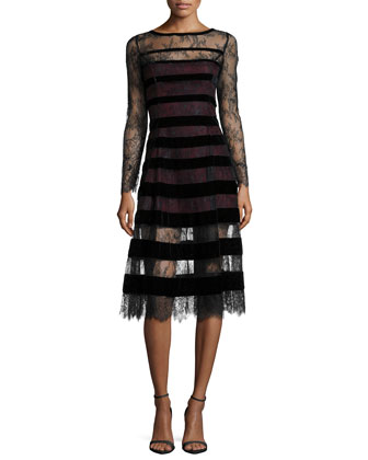 Kira Long-Sleeve Lace Dress W/ Velvet Stripes