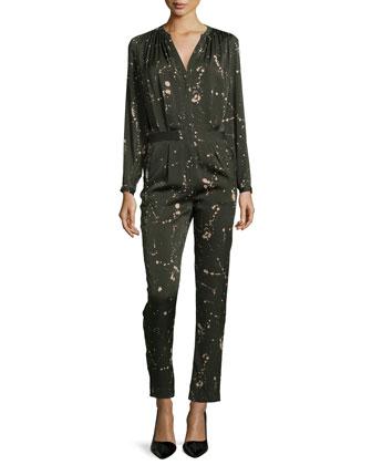 Splatter Print Silk Jumpsuit, Dark Green