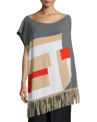 Cashmere Colorblock Fringe Poncho & Wool-Blend Pleated A-Line Skirt