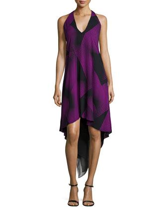 Halter-Neck High-Low Cocktail Dress, Black/Purple