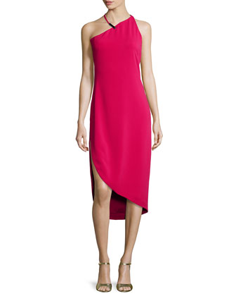 Sleeveless Asymmetric Cocktail Dress, Ruby