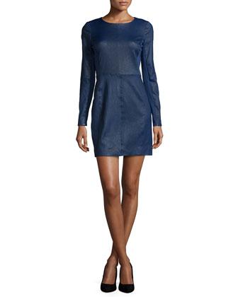 Long-Sleeve Combo Mini Dress, Indigo