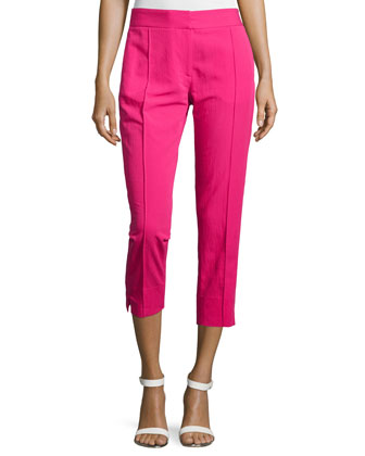 Mid-Rise Skinny Cropped Pants, Bright Raspberry
