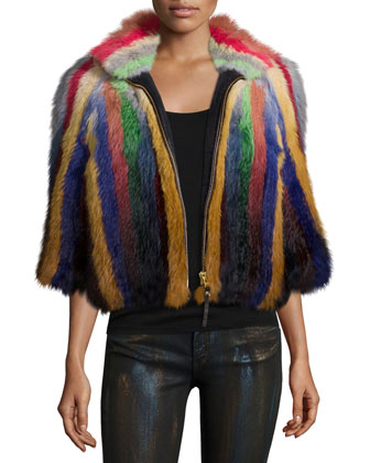 Multicolor Striped Fur Jacket