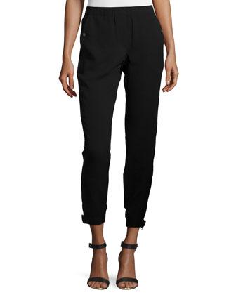 Mid-Rise Combo Jogger Pants, Black
