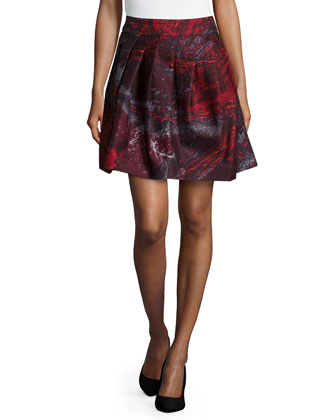 Pleated A-Line Skirt, Pomegranate