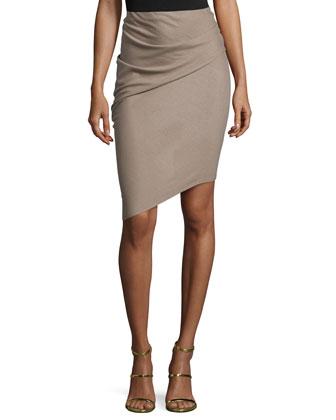 Pencil Skirt W/Asymmetric Hem, Fossil