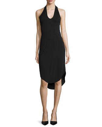 Halter-Neck Draped Cocktail Dress, Black