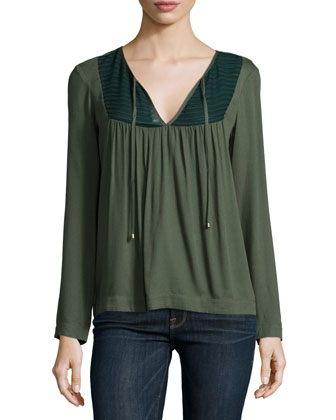 Long-Sleeve Split-Neck Top, Moss