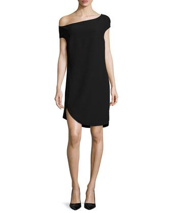 Off-The-Shoulder Shift Dress, Black