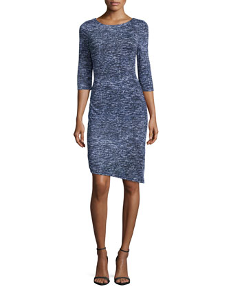 3/4-Sleeve Heathered Sheath Dress, Night Sky