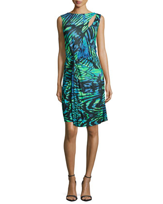 Sleeveless Twist-Front Dress, Green/Blue