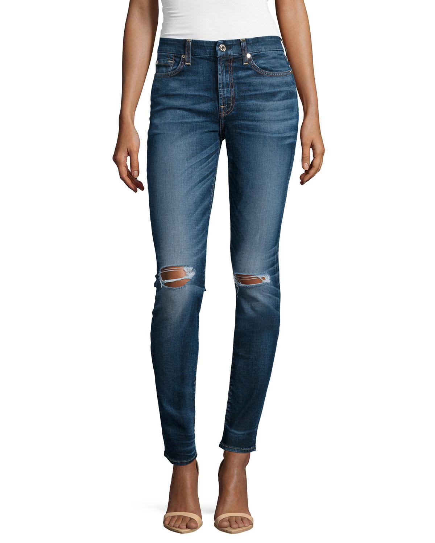 Mid-Rise Destroyed Skinny Jeans, Marie Vintage Blue 2, Size: 26, Marie Vintage Blu - 7 For All Mankind