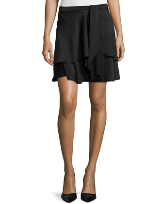 Layered A-Line Skirt, Black