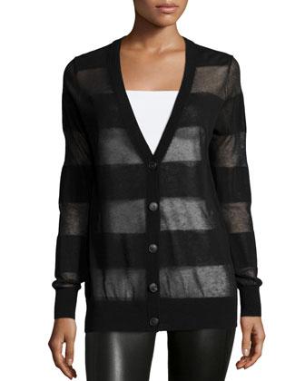 Long-Sleeve Sheer-Stripe Cardigan, Black