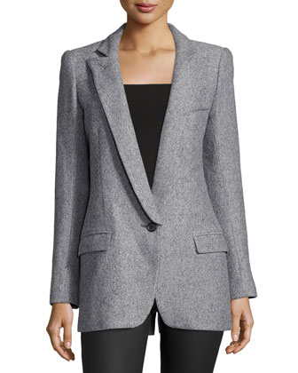 One-Button Long-Sleeve Blazer, Gray Tweed
