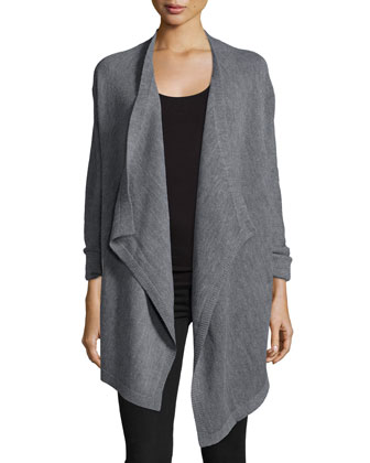 Long-Sleeve Draped-Front Sweater, Heather Gray