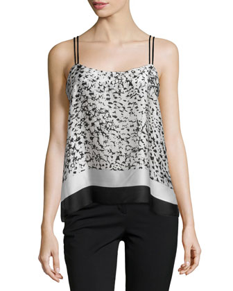 Scarf-Printed Tank Top, Bone Batik