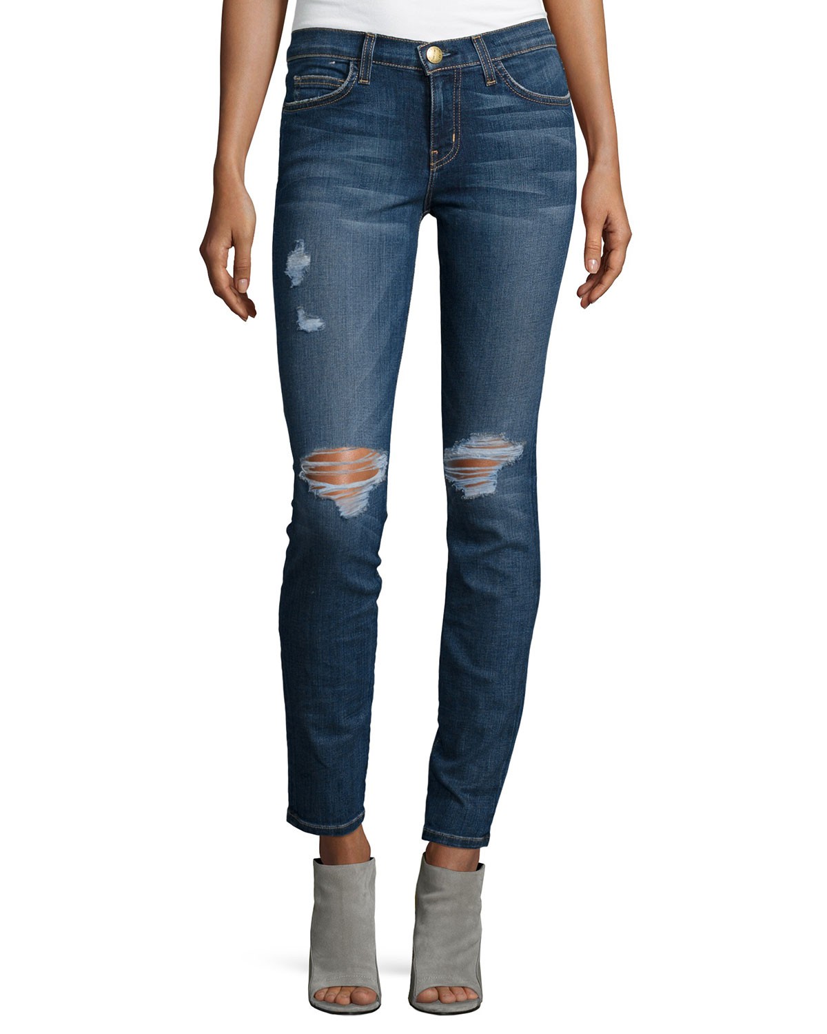 The Ankle Distressed Skinny Jeans, Townie, Size: 24 - Current/Elliott