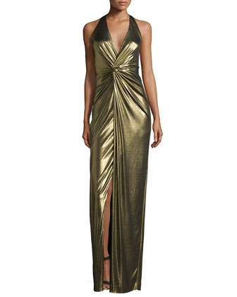 Halter-Neck Twist-Front Evening Gown, Antique Gold