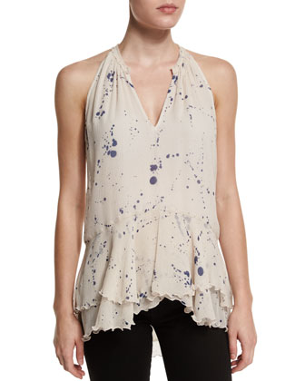 Sleeveless Paint-Splatter Tunic