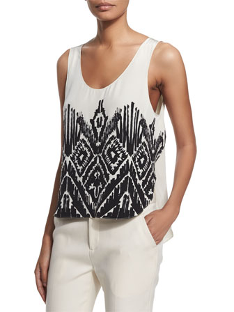 Scoop-Neck Printed Silk Top