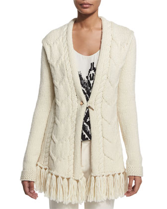Cable-Knit Cardigan W/ Fringe Hem, Scoop-Neck Printed Top & Low-Rise ...