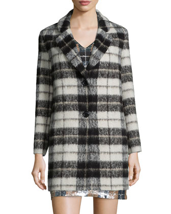 plaid mohair-blend bow-back coat