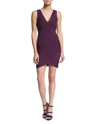 Sleeveless V-Neck Bandage Dress, Bordeaux