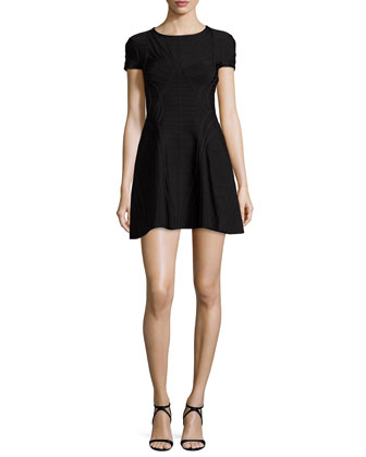 Short-Sleeve Bandage Dress, Black