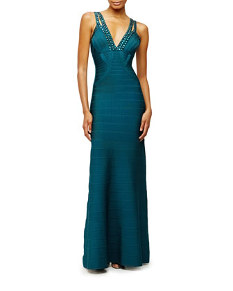 Embellished V-Neck Sleeveless Gown, Slate Teal
