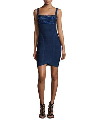 Embellished-Neck Bandage Dress, Pacific Blue