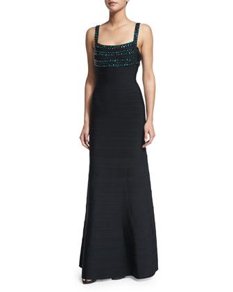 Sleeveless Beaded-Bodice Gown, Black