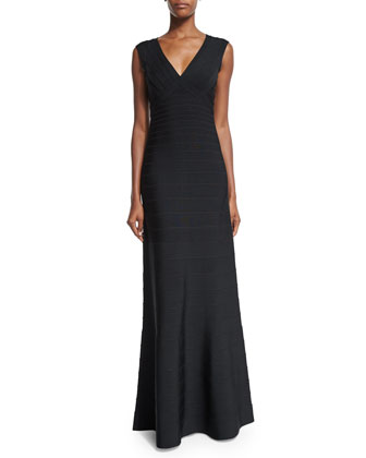 Sleeveless Fit-&-Flare Open-Back Gown, Black