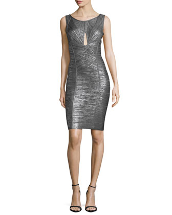 Sleeveless Metallic Cutout Bandage Dress, Gunmetal