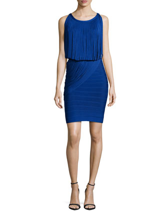 Sleeveless Fringe Bandage Dress, Blue Sapphire