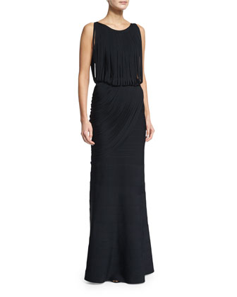 Fringe Sleeveless Fit-&-Flare Gown, Black
