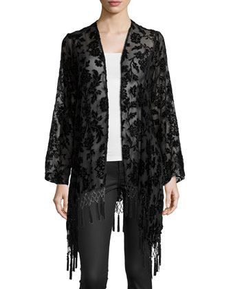 Stevie Floral-Print Jacket W/Fringe, Black