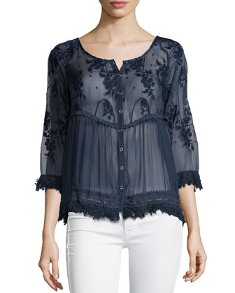 Reba Dita 3/4-Sleeve Embroidered Top, Cadet Blue