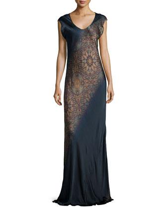 Farrah Asymmetric-Print Dress, Bergada Colorway