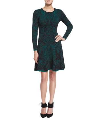 Long-Sleeve Lace-Print Fit & Flare Dress