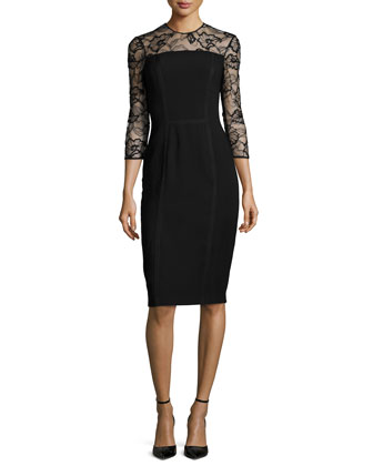 3/4-Sleeve Lace-Trim Cocktail Dress, Black